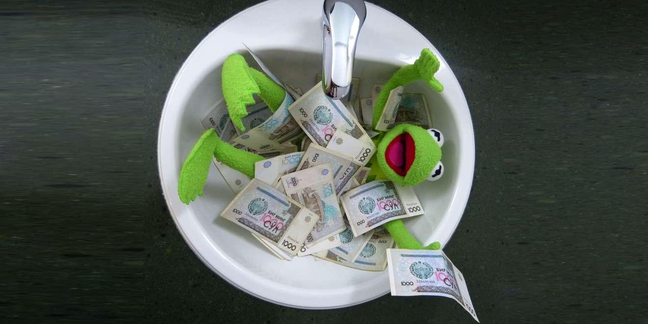 Kermit schwimmt im Geld